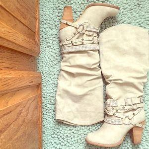 Cream gem heel boots!